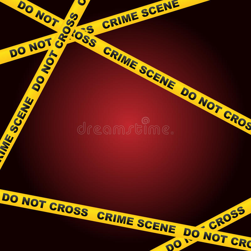 Crime scene background. With caution tapes and on red background.EPS file available vector illustration