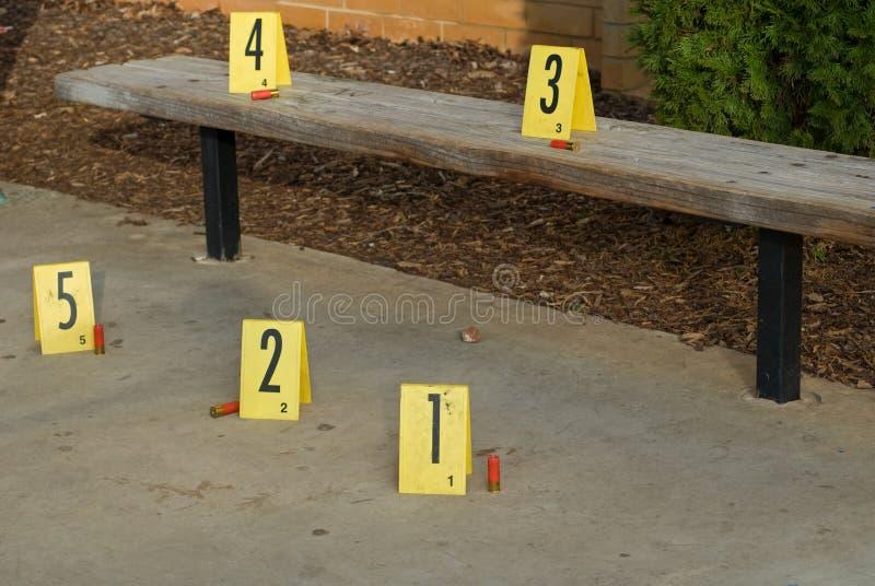 Download Crime Scene Bench stock image. Image of scene, shells - 7643707