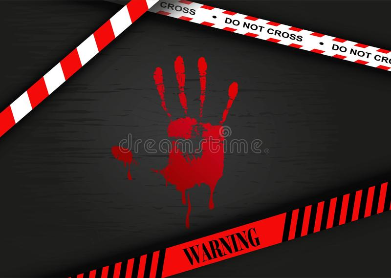 Crime scene - Bloody hand print stock illustration