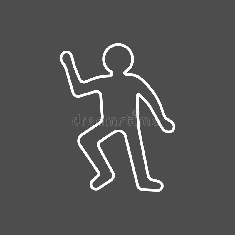 Crime scene concept. Dead body silhouette icon. Vector illustration in flat style isolated on grey background vector illustration