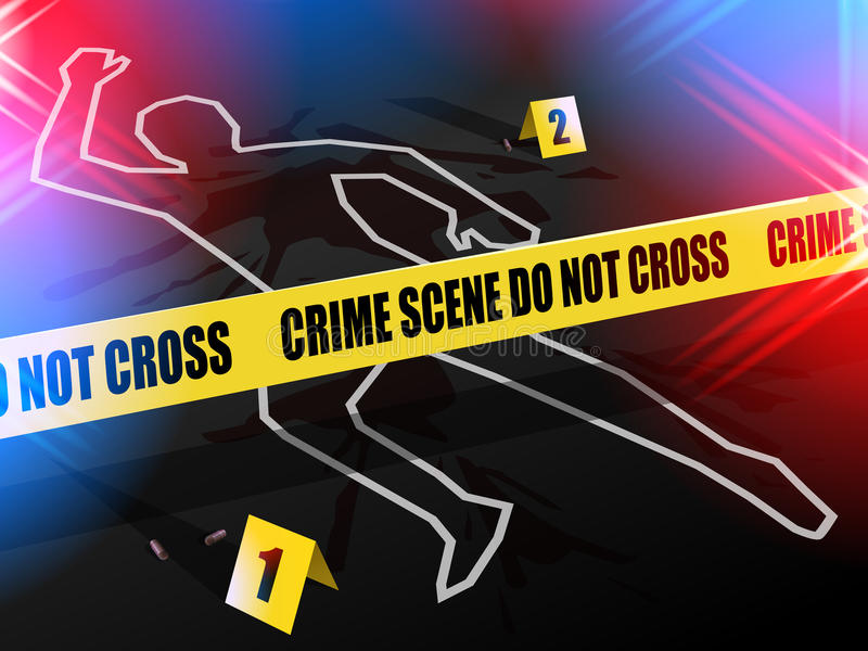 Crime scene - Do not cross, with Chalk outline of gun violence victim. Crime scene - Do not cross. Chalk outline of murdered victim of Gun Violence on the road royalty free illustration
