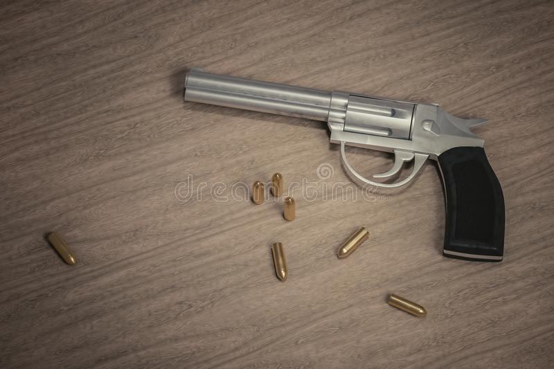 Crime scene. Gun with many bullets on wooden background. 3D rendered illustration vector illustration