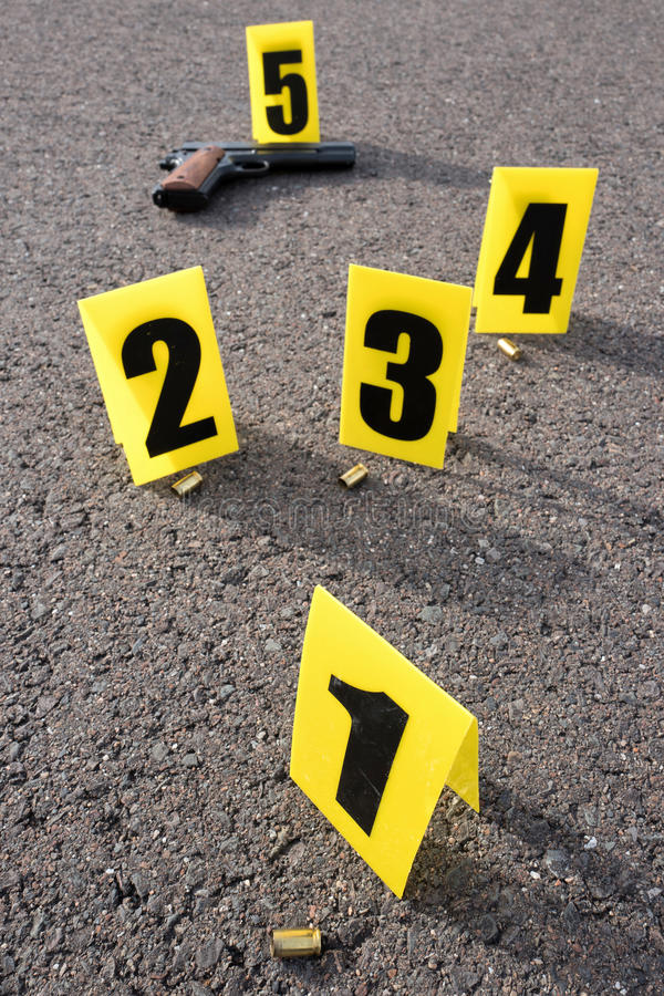 Crime scene after gunfight. ID tents at crime scene after gunfight stock image