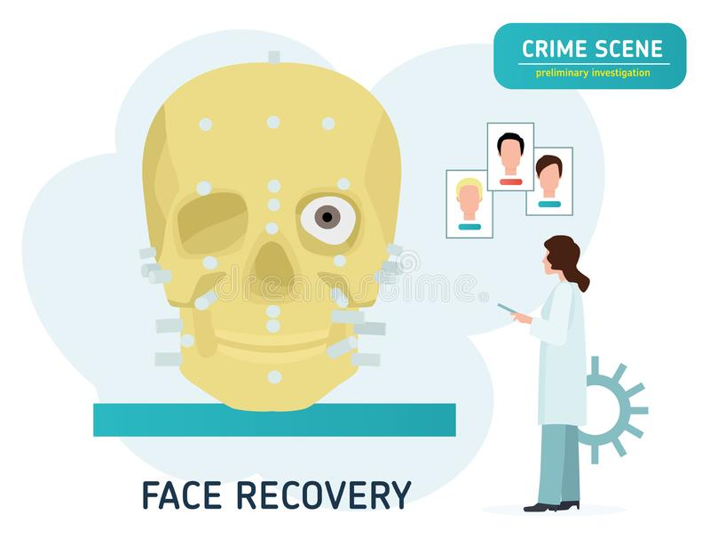 Crime Scene Investigation Αποκατάσταση του προσώπου στο κρανίο Δικανικό έμβλημα έννοιας εξέτασης Επίπεδα κινούμενα σχέδια ελεύθερη απεικόνιση δικαιώματος