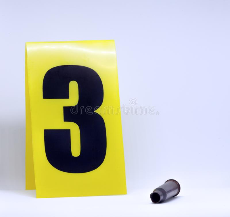 Crime scene bullet and marker royalty free stock images