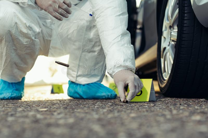 Crime scene investigation. Forensic Science -place of shooting. royalty free stock photos
