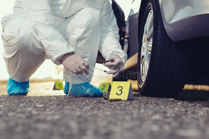 Crime scene investigation. Forensic Science -place of shooting. royalty free stock images