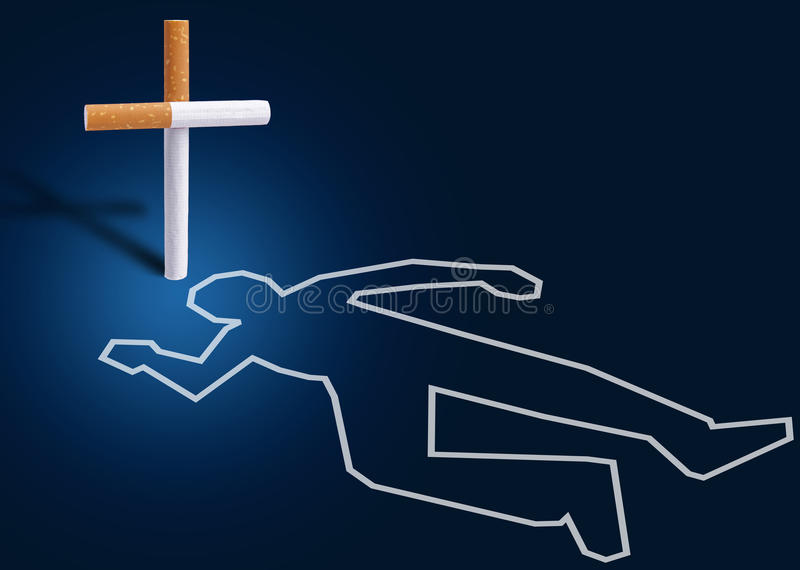 Crime Scene - Man Killed By Cigarettes Royalty Free Stock Photo