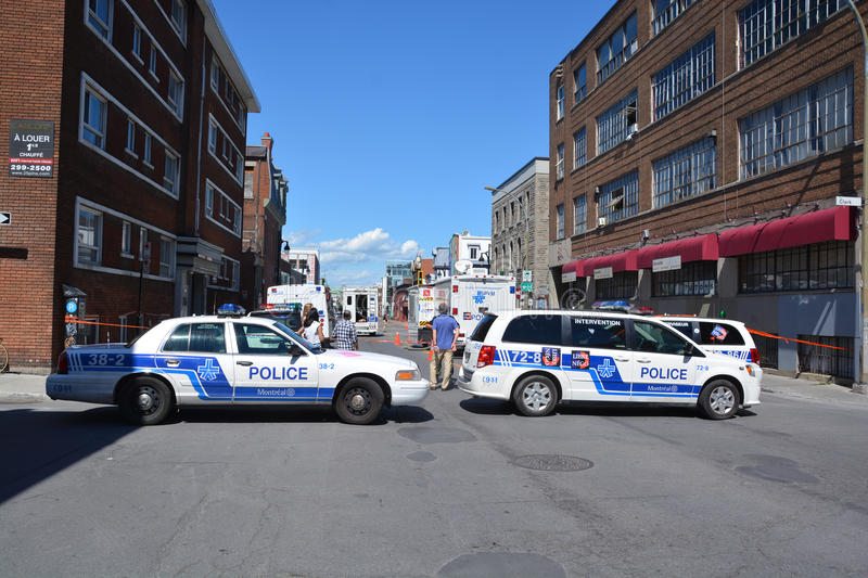 Crime scene. MONTREAL OC CANADA AUGUST 02 2015: Crime scene of two men are dead and two others remain in critical condition after an overnight assault on Saint stock image