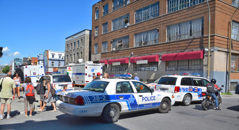 Crime scene. MONTREAL OC CANADA AUGUST 02 2015: Crime scene of two men are dead and two others remain in critical condition after an overnight assault on Saint royalty free stock photo