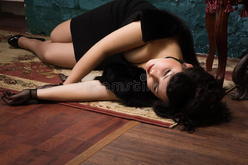 Crime scene in a retro style royalty free stock images