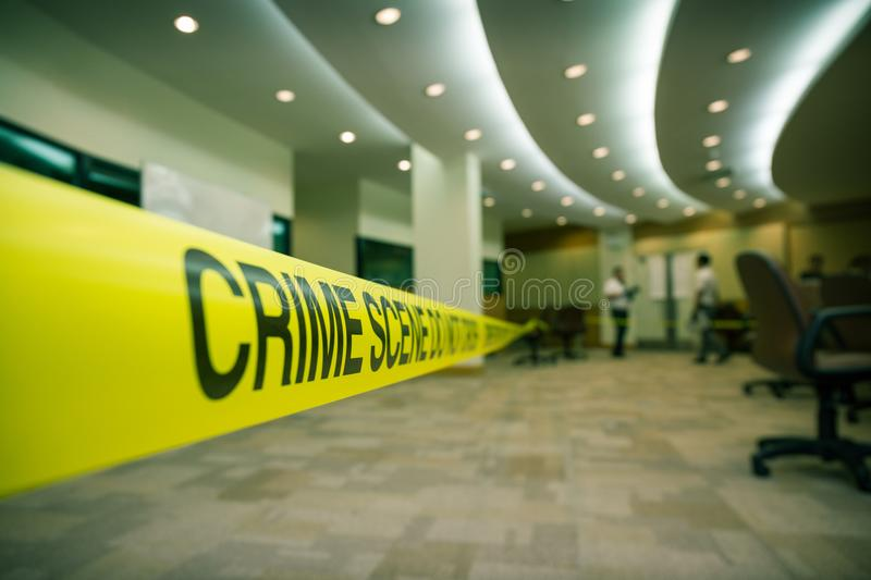 Crime scene tape of mysterious case in cenematic tone with copy royalty free stock photography