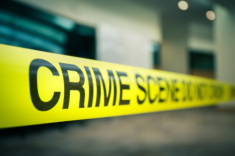 Crime scene tape of mysterious case in cenematic tone with copy royalty free stock photos