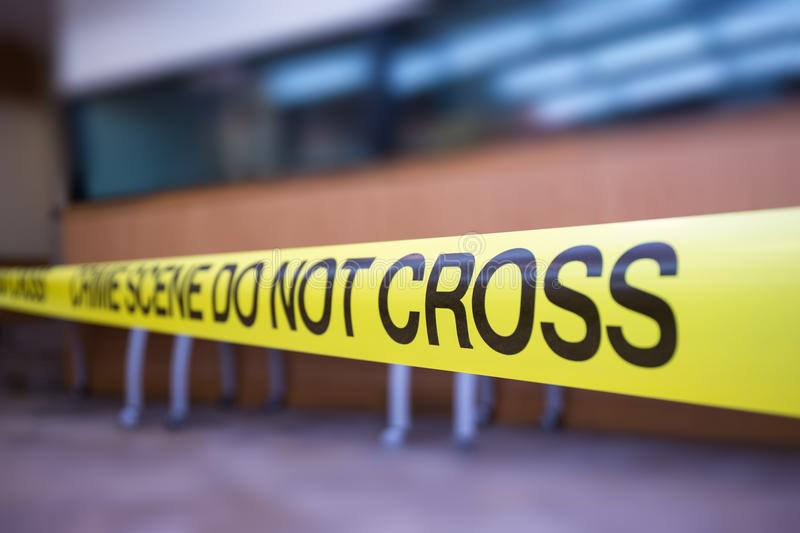 Crime scene tape of mysterious case with copy space stock photos