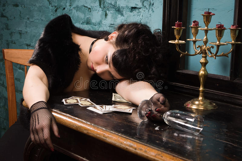 Crime scene in a vintage style royalty free stock photo