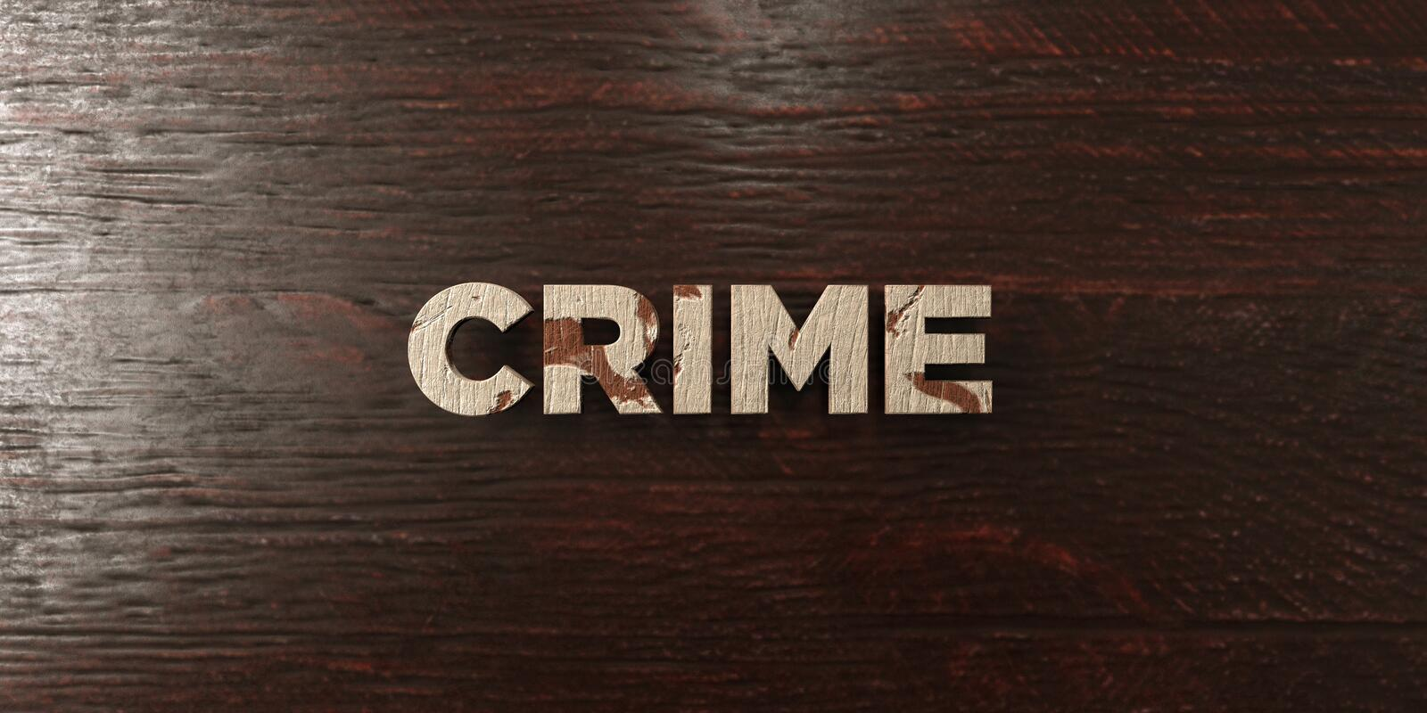 Crime - titre en bois sale sur l'érable - image courante gratuite de redevance rendue par 3D illustration stock