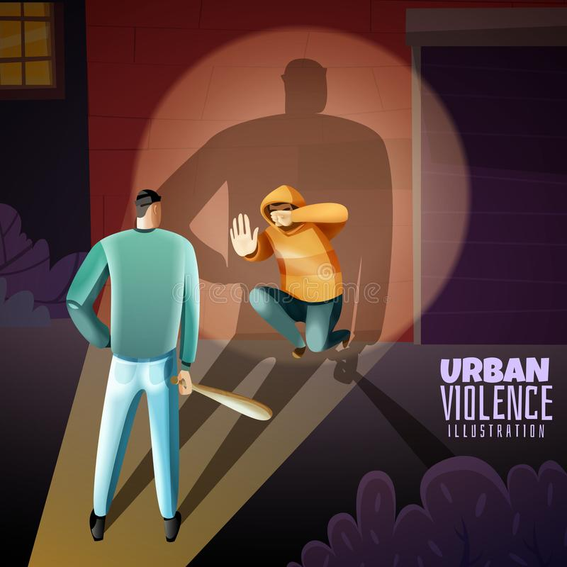 Crime Violence Poster. Social crime urban youth violence warning composition with criminal threatening boy with wooden baton poster vector illustration vector illustration