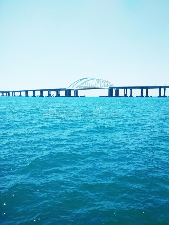 Crimea Bridge over the Black Sea. View of the Crimea Bridge over the Black Sea, architectural decision royalty free stock photography