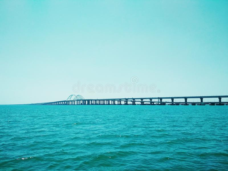 Crimea Bridge over the Black Sea. View of the Crimea Bridge over the Black Sea, architectural decision stock image
