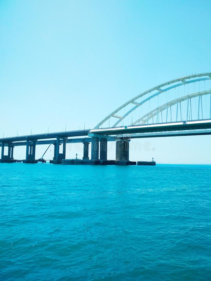 Crimea Bridge over the Black Sea. View of the Crimea Bridge over the Black Sea, architectural decision stock photos