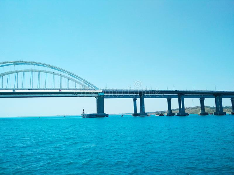 Crimea Bridge over the Black Sea. View of the Crimea Bridge over the Black Sea, architectural decision royalty free stock photos