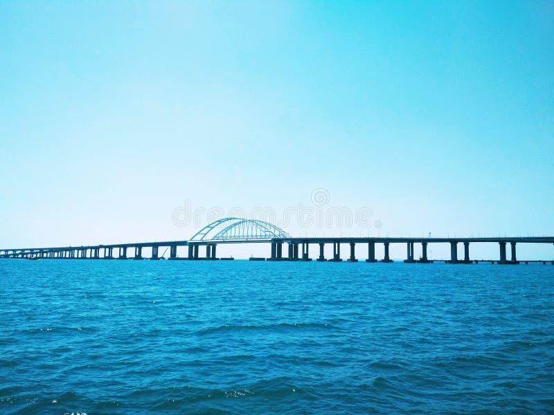 Crimea Bridge over the Black Sea. View of the Crimea Bridge over the Black Sea,a Bridge over the Black Sea, architectural decision stock photo