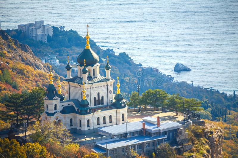 Crimea the foros Church on a cliff overlooking the sea royalty free stock image