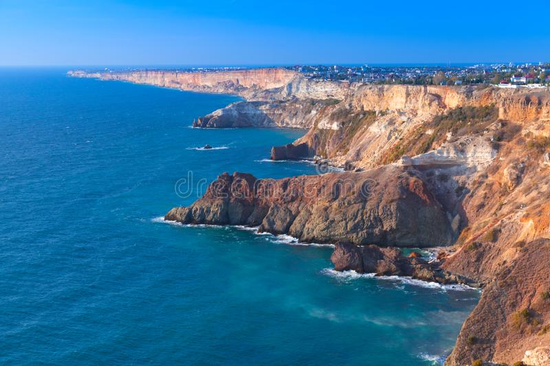 Crimea landscape with Fiolent rocks. Summer landscape with Fiolent rocks formation on the Black Sea coast in Sevastopol stock photography