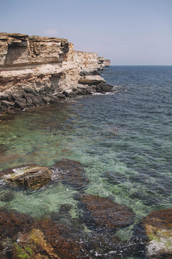 Crimea landscape. Rocky coast of Cape Tarhankut. stock images
