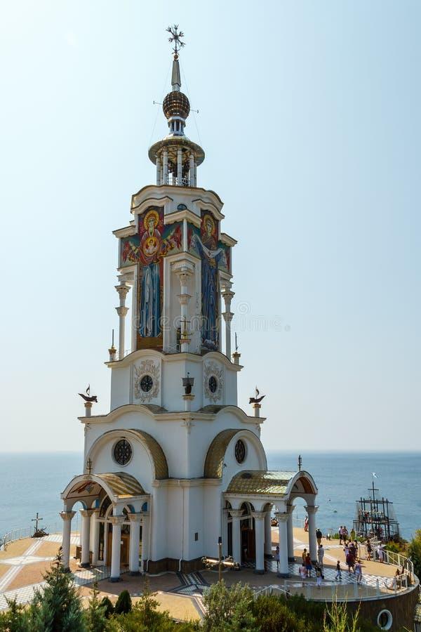 Crimea, Malorechenskoye. Temple-lighthouse of St. Nicholas the Wonderworker royalty free stock photography