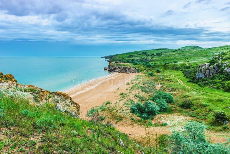 Crimea- natural landscape. Kerch- Azov sea. Scenery background- vacation destinations royalty free stock photography