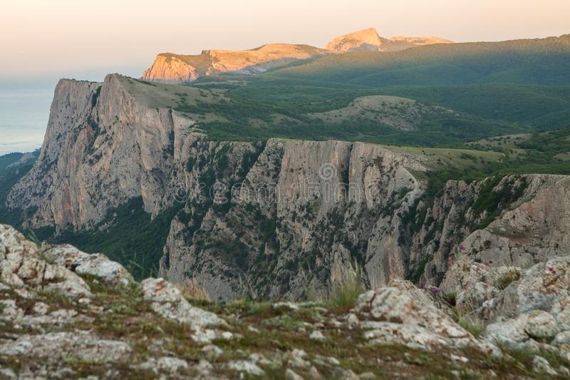 Crimea nature. Amazing landscape, mountains, Black sea coast during sunset. Beauty of nature scenery in Crimea. royalty free stock images