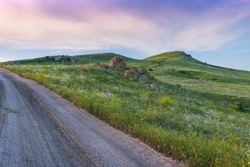 Crimea nature reserve - the road to travel. Landscape park- Kerch peninsula. Nature reserve - the road to travel. Hiking historical places Crimea. Landscape park stock photography
