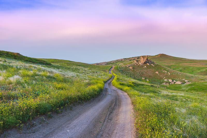 Crimea nature reserve - the road to travel. Landscape park- Kerch peninsula. Nature reserve - the road to travel. Hiking historical places Crimea. Landscape park royalty free stock images