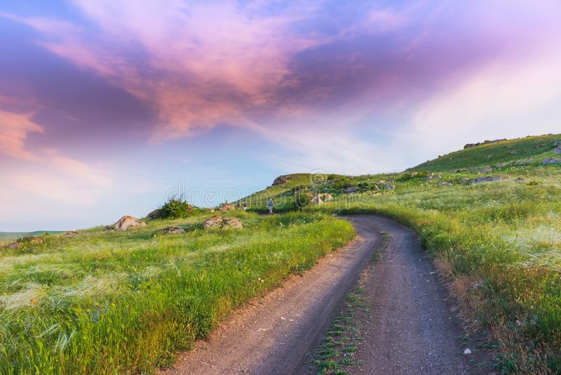 Crimea nature reserve - the road to travel. Landscape park- Kerch peninsula. Nature reserve - the road to travel. Hiking historical places Crimea. Landscape park royalty free stock photo
