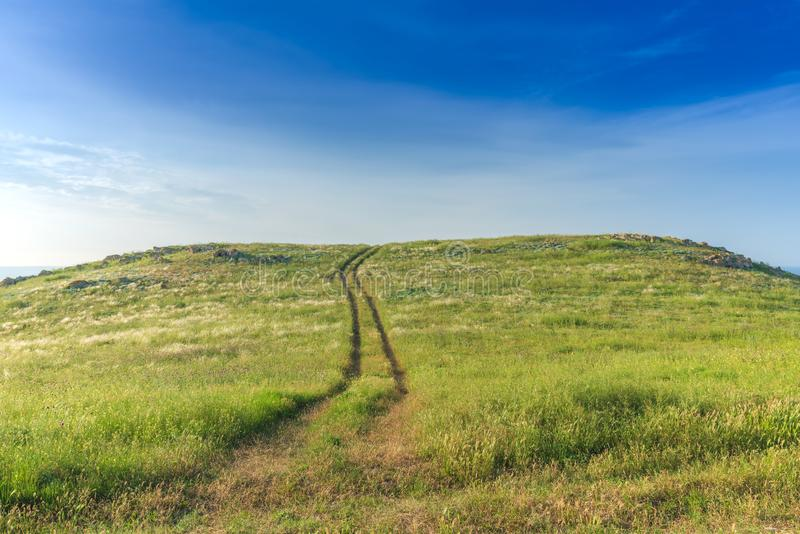 Crimea nature reserve - the road to travel. Landscape park- Kerch peninsula. Nature reserve - the road to travel. Hiking historical places Crimea. Landscape park royalty free stock image
