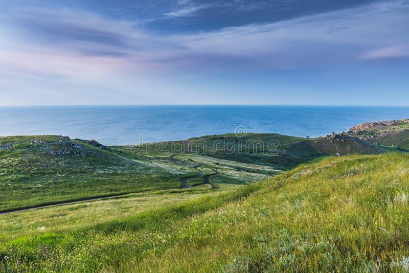 Crimea nature reserve - the road to travel. Landscape park- Kerch peninsula. Nature reserve - the road to travel. Hiking historical places Crimea. Landscape park royalty free stock photography