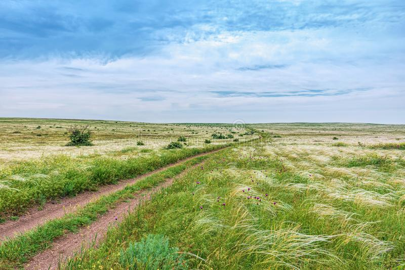 Crimea nature reserve - the road to travel. Landscape park- Kerch peninsula. Nature reserve - the road to travel. Hiking historical places Crimea. Landscape park stock image