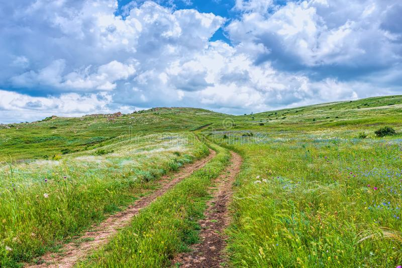 Crimea nature reserve - the road to travel. Landscape park- Kerch peninsula. Nature reserve - the road to travel. Hiking historical places Crimea. Landscape park stock photo