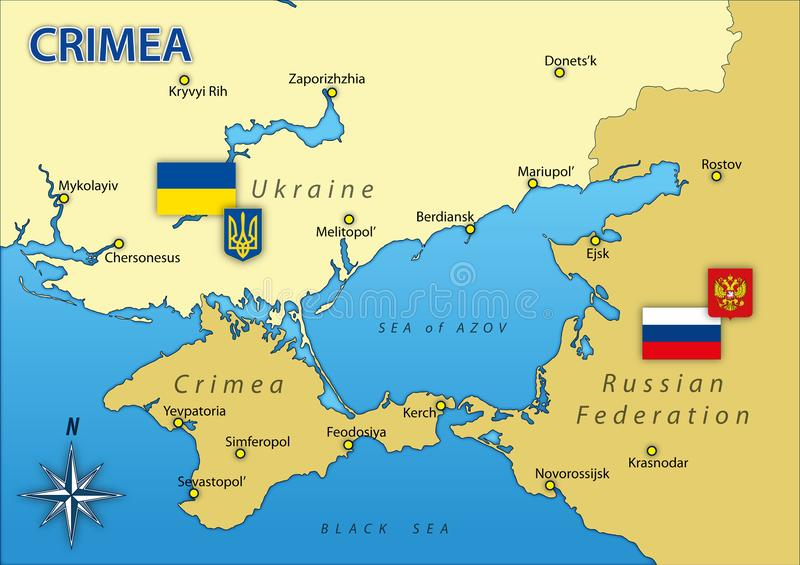 Crimea peninsula map with borders and flags Russia and Ukraine vector illustration
