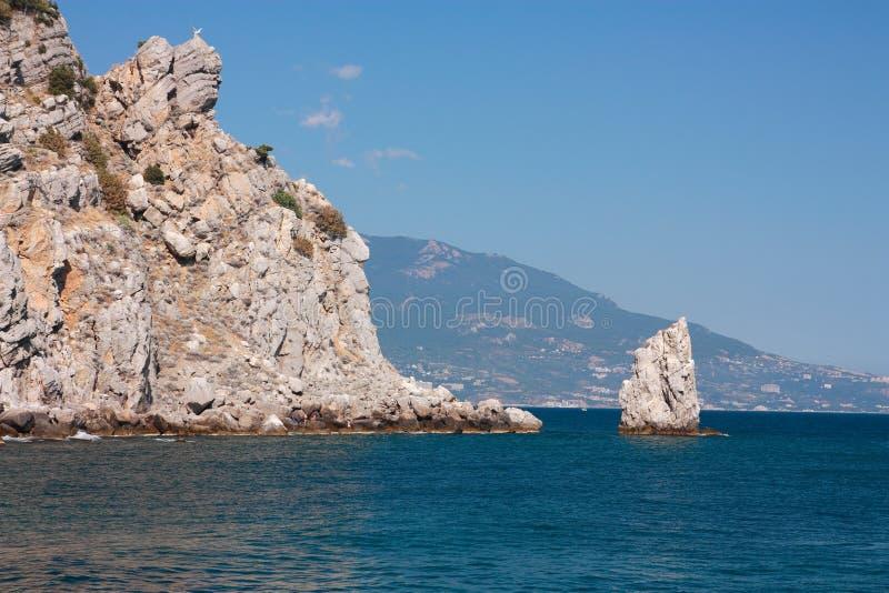 Crimea, rock. Seascape in the Crimea, rock `Sail` at the Black Sea royalty free stock image