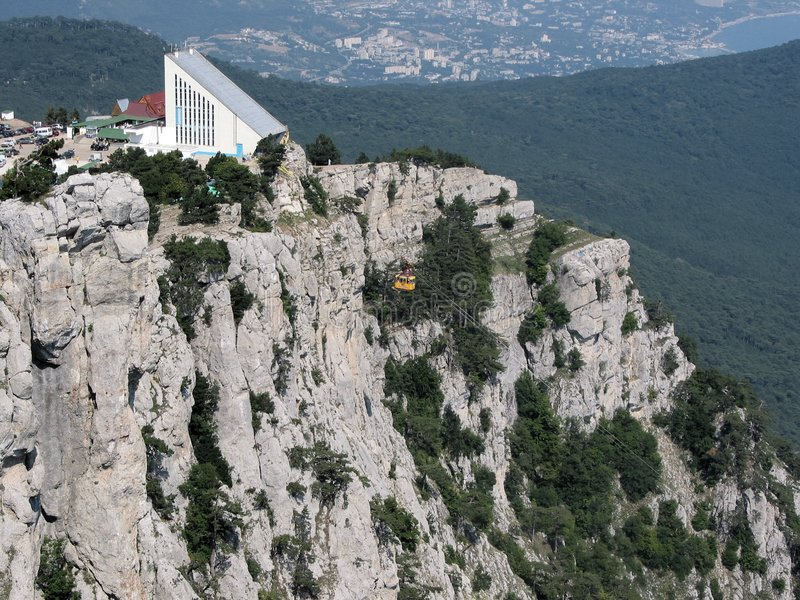 Crimea rocks and cable-way stock image