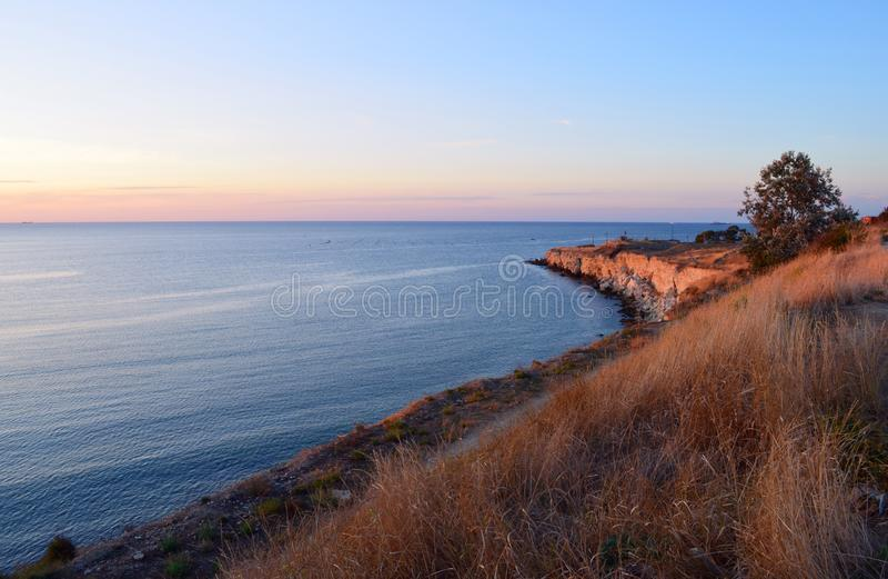 Crimea. Sevastopol. Quarantine Bay. Sunset royalty free stock images