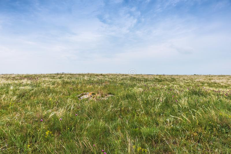 Crimea steppe- landscape park. Kerch peninsula. Sights of Crimea - lush vegetation, steppe zone in the spring. Landscape park- Kerch peninsula royalty free stock photos