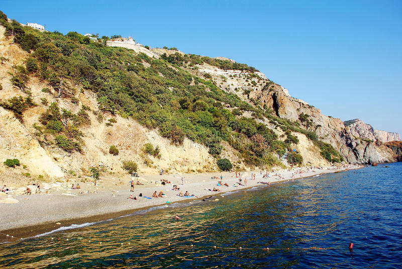 Crimea. View of Jasper Beach from the Black Sea stock images