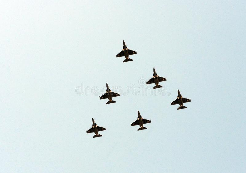 Crimean aerobatic team Wings of Tauris in the planes Yak-130 royalty free stock image