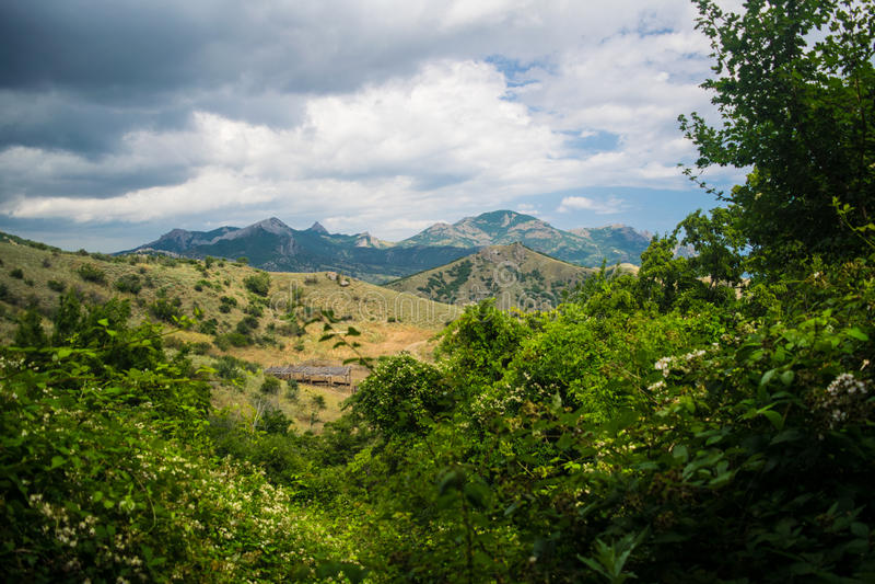 Crimean landscape - Kara Dag mountain royalty free stock photography