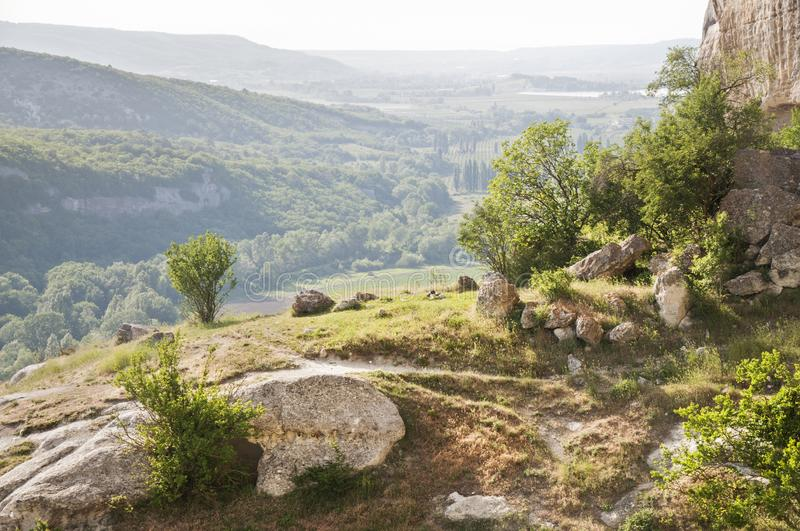 The Crimean landscape. Landscapes of the mountainous Crimea .View from the cave city of Kachi Kalion near Bakhchisaray stock photography