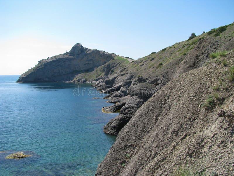 Crimean rocky coast, Kara Dag mountain range royalty free stock photo