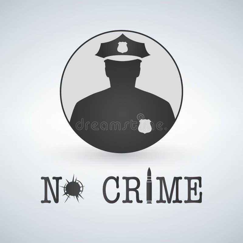 Crimen de la parada del icono del oficial de policía Ley y orden ningún agujero del crimen, de la bala y de balas libre illustration